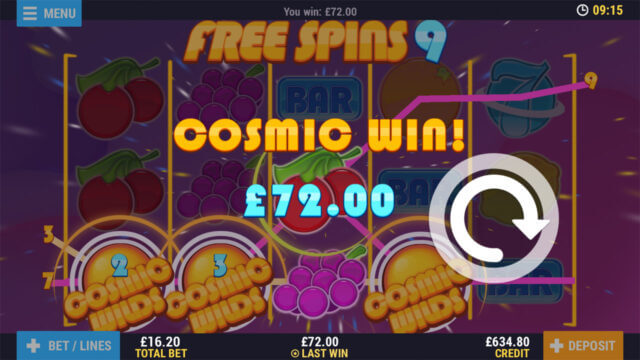 Cosmic Wilds mobile slots at Casino 2020